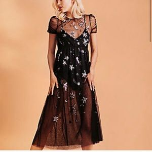 embroidered galaxy mesh sequin festival dress